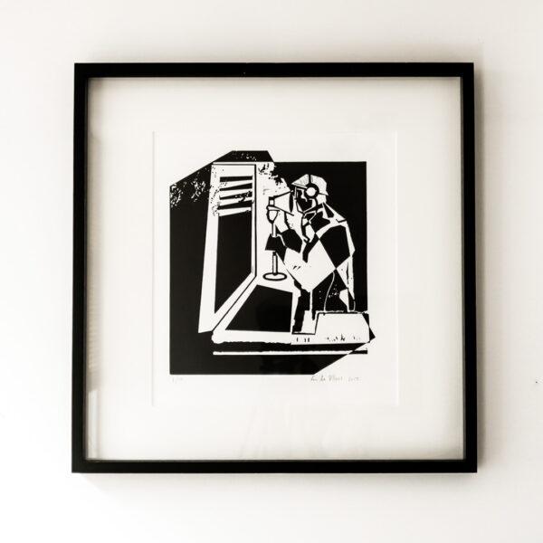 Fen de Villiers print linocut 'the spy' in frame