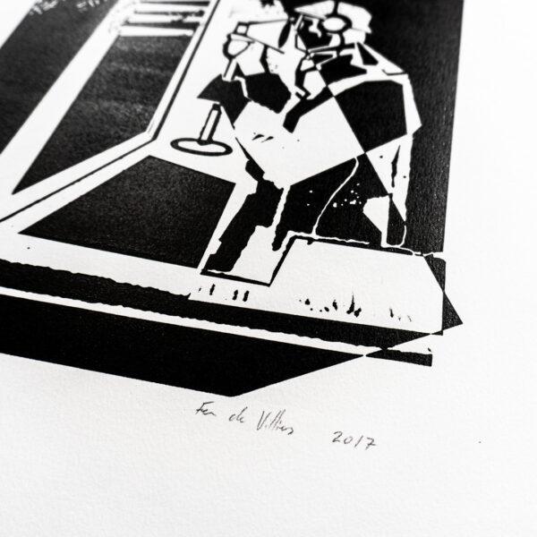 Fen de Villiers print linocut 'the spy'